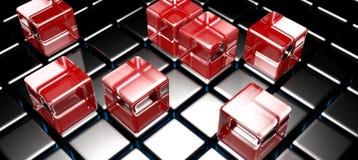 I cubi di vetro rossi sul nero hanno cubato la superficie - la rappresentazione 3D royalty illustrazione gratis