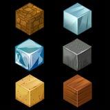 i cubi isometrici del blocchetto del gioco 3D hanno messo gli elementi Fotografia Stock