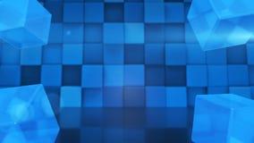 I cubi vetrosi blu/3D rendono il ciclo senza cuciture del fondo facile al recolor archivi video