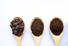 i cucchiai di legno di vista superiore hanno riempito di chicco di caffè ed hanno schiacciato il groun immagine stock libera da diritti