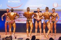 I culturisti maschii flettono i loro muscoli e mostrano il loro migliore physiqu Fotografie Stock