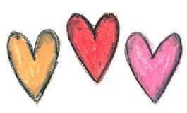 I cuori del giorno di biglietti di S. Valentino hanno messo disegnato a mano espressivo Fotografia Stock Libera da Diritti