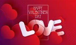I cuori del giorno di biglietti di S. Valentino amano il fondo astratto rosso illustrazione di stock