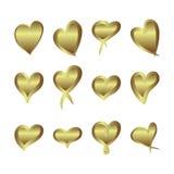I cuori della stagnola di pendenza dell'oro hanno messo, progettazione dorata di amore di giorno di S. Valentino Immagine Stock