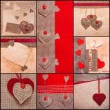 I cuori di amore dei biglietti di S. Valentino del collage del cuore hanno impostato il vecchio documento del tessuto Immagine Stock