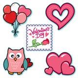 I cuori di parole dei palloni del gufo dei grafici del giorno di biglietti di S. Valentino sono aumentato Fotografia Stock