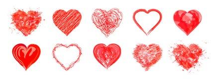 I cuori tirati per giorno del ` s di giorno, del biglietto di S. Valentino del ` s della madre o nozze Immagini Stock