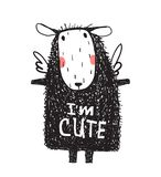 I am Cute Hairy Sheep Sign Card Print Royalty Free Stock Image