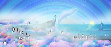 I`d like to take you to romantic Norway and go to the North Pole to see penguins and whales royalty free illustration