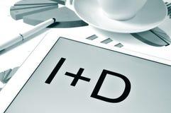 I D plus, desarrollo de l'investigacion y, recherche et développement i images libres de droits