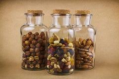 I dadi e la frutta secca mescolano nei barattoli di vetro Immagini Stock Libere da Diritti