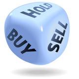 I dadi finanziari del mercato azionario rotolano la STRETTA COMPRA-VENDITA Fotografie Stock