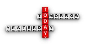 i dag i morgon igår Arkivbild