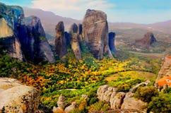 I dalen av Meteora Grekland Arkivbild