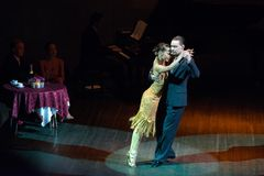 I dansen Dmitry Kuznetsov och Olga Nikolaev Arkivbild