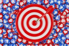 I dardi che colpiscono l'obiettivo sopra il mucchio di amore sociale della rete di media e come i distintivi del cuore conia la s illustrazione vettoriale