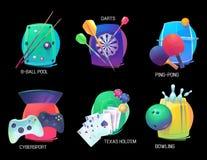 I dardi ed il ping-pong mettono in mostra, lanciare e stagno, mazza illustrazione vettoriale