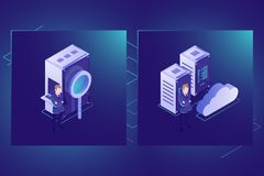 I dati cercano e si appannano il vettore dell'icona di stoccaggio, la stanza del server, il centro dati e la base di dati isometr royalty illustrazione gratis