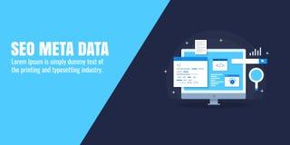 I dati di Seo, meta etichettano, seo in loco, la codifica della pagina Web, programmante, l'ottimizzazione, concetto del motore d Fotografia Stock Libera da Diritti