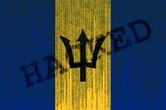 I dati hanno inciso la bandiera delle Barbados Le Barbados diminuiscono con il codice binario Fotografie Stock