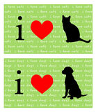 I de Katten en de Honden van het Hart Stock Fotografie