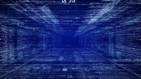 i-de Tunnel van FI Camerabewegingen door HUD-interface met de codetekst van programmeringsgegevens en futuristische HUD-elementen stock video