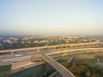 I-10 de um estado a outro aéreo, intercâmbio norte da pilha da autoestrada I-45 nem Fotografia de Stock Royalty Free