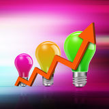 I dea  light bulbs with graph   on  abstract background Royalty Free Stock Image