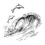 I delfini saltano nella stampa disegnata a mano di serigrafia di schizzo dell'inchiostro della spazzola delle onde Fotografie Stock