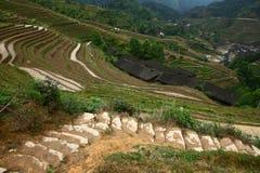 By i den Longji terrassen, Guilin Arkivbild