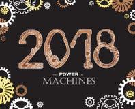 2018 i den Steampunk stilen Översiktsnummer på svart bakgrund Royaltyfri Foto