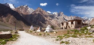 By i den Suru dalen, nunna Kun Range - indiska Himalayas Royaltyfria Foton