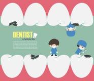 I dentisti controllano su in vostri denti e carie dentale di ricerca Vettore Progettazione piana Fotografie Stock