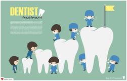 I dentisti scalano alla cima di successo dei denti e tentano il concetto Vettore Progettazione piana Fotografie Stock Libere da Diritti