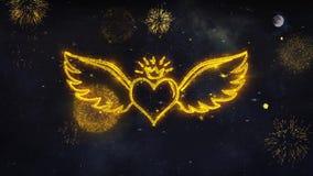 I desideri di Valentine Fling Wing Heart Text rivelano dalla cartolina d'auguri delle particelle del fuoco d'artificio illustrazione di stock