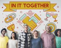 I det tillsammans Team Corporate Connection Support Concept Arkivbilder