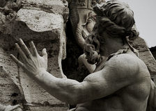 I dettagli della fontana del Bernini in Navona quadrano Fotografie Stock Libere da Diritti