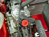 I dettagli di un nuovo vanno motore del kart Fuoco selettivo Fotografia Stock
