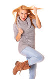 I did it !. A picture of a young happy woman in a victory gesture over white background Stock Images