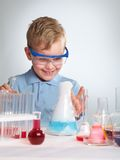 I did it. An enthusiastic boy looking at the results of his experiment Stock Photos