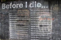 Before I Die I Want To... Wall Royalty Free Stock Photo