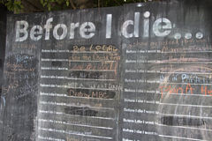 Before I Die Wall Stock Photo