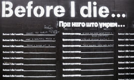 Before I die wall Royalty Free Stock Image