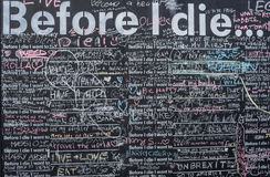 Before i die wishes on  blackboard in Brighton Royalty Free Stock Photos