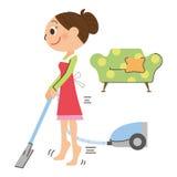 I diet while doing housework stock illustration