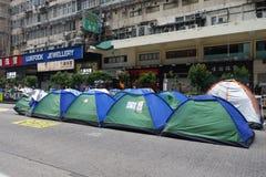 I dimostranti di democrazia di Hong Kong stanno combattendo fuori il loro dirigente principale Immagine Stock Libera da Diritti