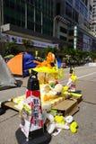 I dimostranti di democrazia di Hong Kong stanno combattendo fuori il loro dirigente principale Fotografia Stock