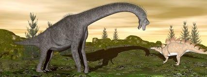 I dinosauri 3D di stegosauro e del Brachiosaurus rendono Immagine Stock Libera da Diritti