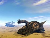 I dinosauri 3D morto del Einiosaurus rendono Fotografie Stock Libere da Diritti