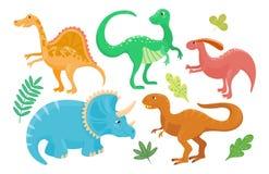 I dinosauri del fumetto vector giurassico predatore di Dino del mostro isolato illustrazione del rettile preistorico animale del  Fotografia Stock Libera da Diritti